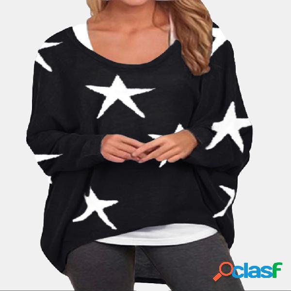 Blusa larga irregular de manga comprida estampada com estrelas