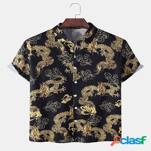 Masculino all over golden dragão impresso algodão relaxed fit camiseta manga curta
