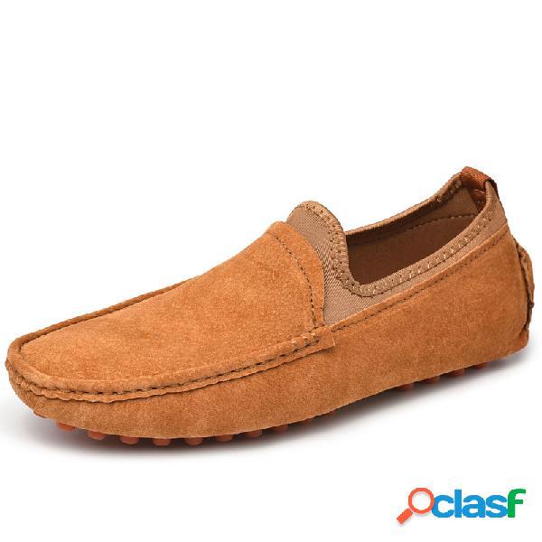 Masculino couro genuíno soft solado resistente ao deslizamento casual em sapatos de condução