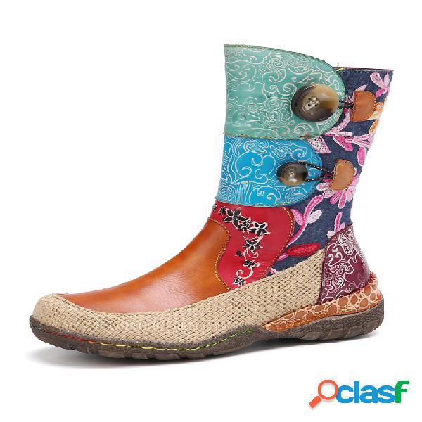 Socofy couro estampado floral emendas de linho tecido em volta do dedo do pé redondo botas curtas de sola plana