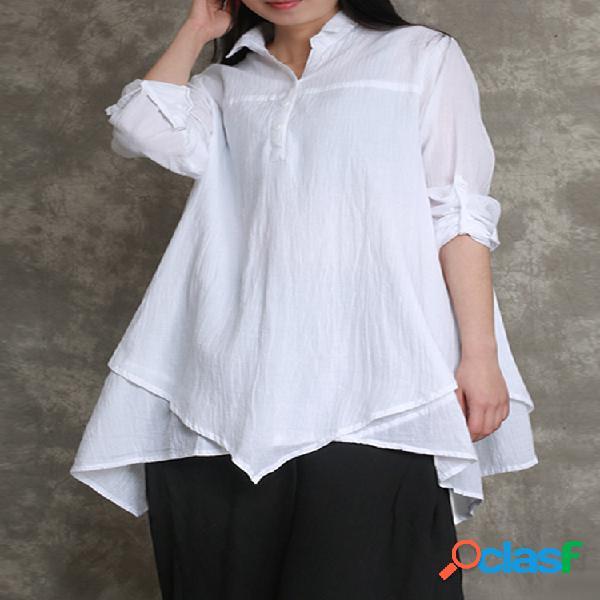 Blusa de algodão cor sólida com decote em v com bainha irregular e manga comprida