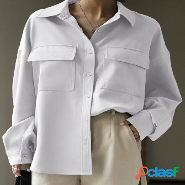 Bolsos casuais de cor sólida manga comprida camisa para mulheres