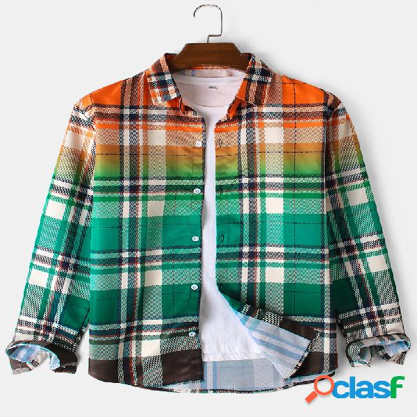 Camisa masculina simples xadrez xadrez gradiente lapela gola manga comprida camisas casuais