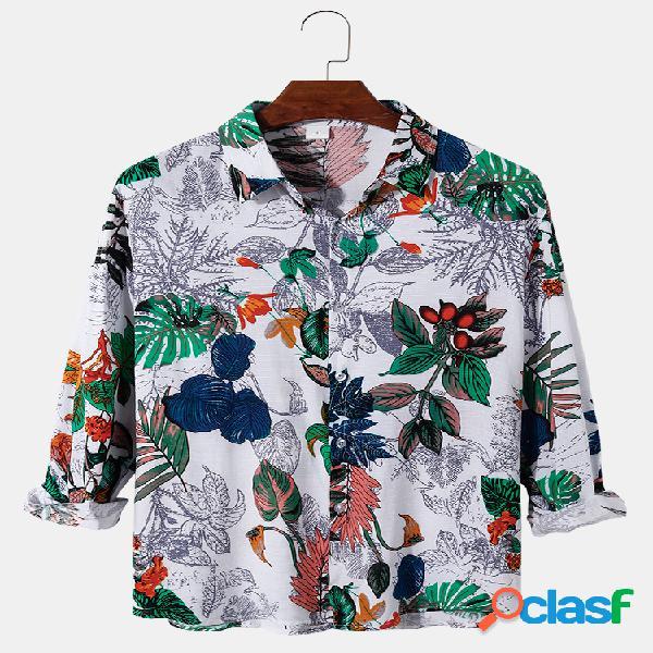 Linho de algodão masculino floral e planta com estampa solta e ajuste casual camisas de manga longa