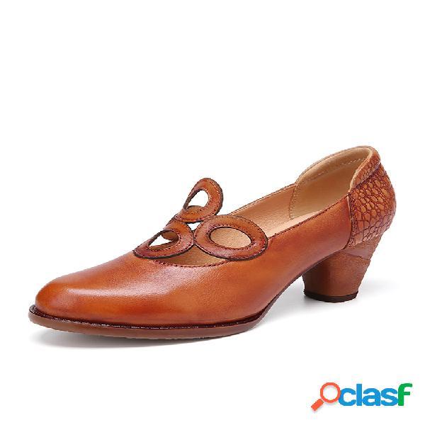 Socofy sapatos elegantes de salto alto com recorte redondo retrô de couro de couro cor sólida