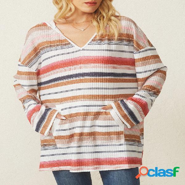 Blusa rainbow listrada com decote em v manga comprida tamanho plus com grande abertura
