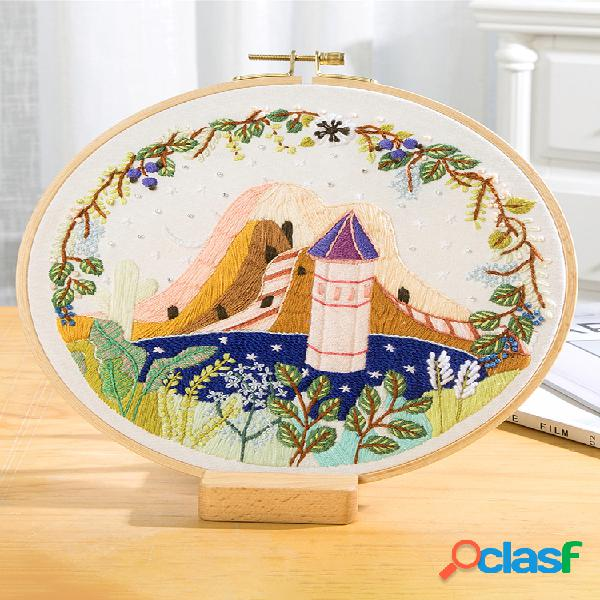 Faça você mesmo kit de bordado de flores em paisagem com cenário de bordado bordado ponto cruz artesanato presente arte decoração de casa