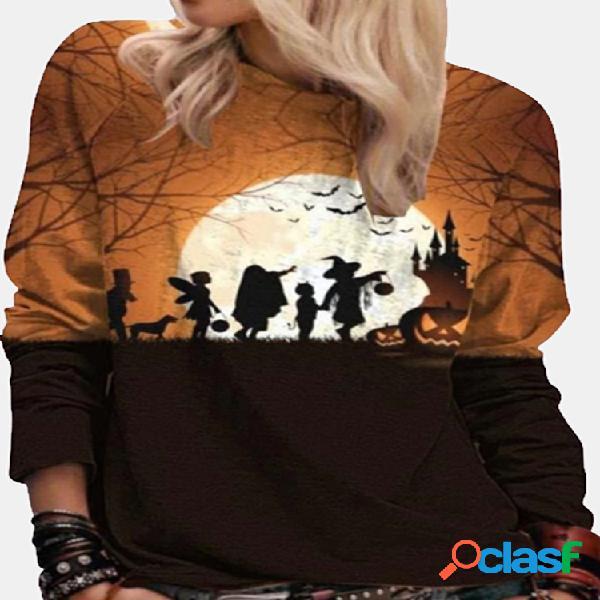 Camisola feminina com estampa de desenhos animados de halloween com decote em o de manga comprida