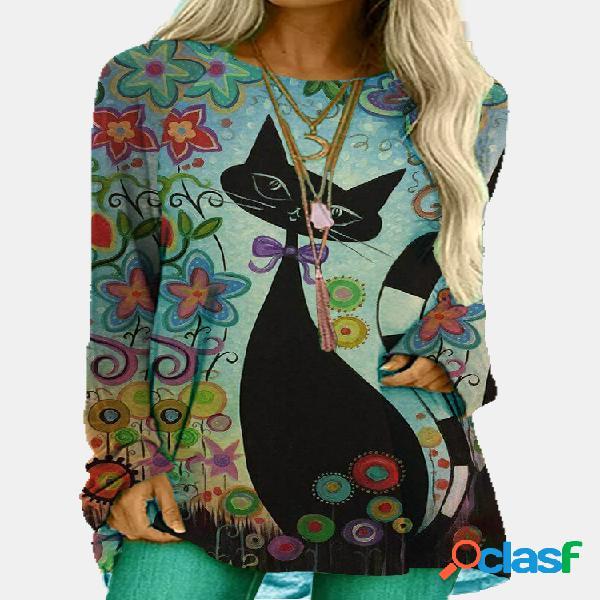 Cartoon cat imprime blusa casual de manga comprida com gola o