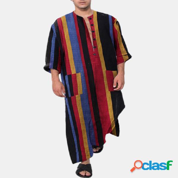 Ethnic colorful botão listrado comprimento camisas design robes com bolsos na cintura para homens