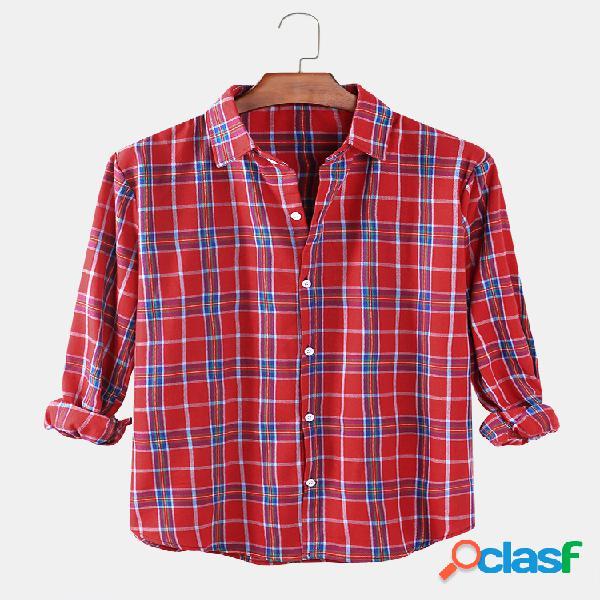 Gola de lapela masculina com botão xadrez casual casual de ajuste relaxado camisas de manga comprida