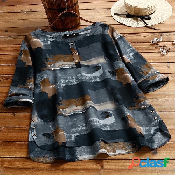 Blusa de manga comprida estampa vintage plus tamanho feminino