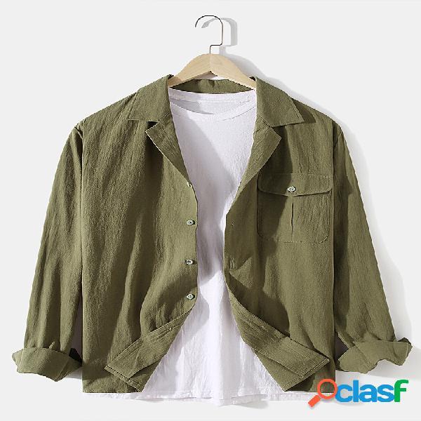 Camisas masculinas 100% algodão maciço de acampamento com gola casual de manga comprida e bolso com aba