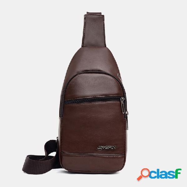 Orifício para fone de ouvido masculino de couro pu crossbody impermeável multi-transporte bolsa peito bolsa sling bolsa