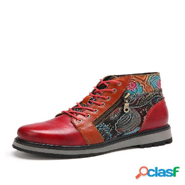 Socofy costura de tecido bordado elegante couro genuíno botas de tornozelo achatadas casuais e confortáveis com dedo do pé redondo
