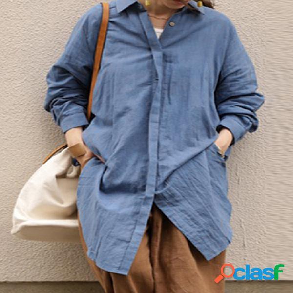 Bainha assimétrica bainha manga comprida vintage plus tamanho camisa