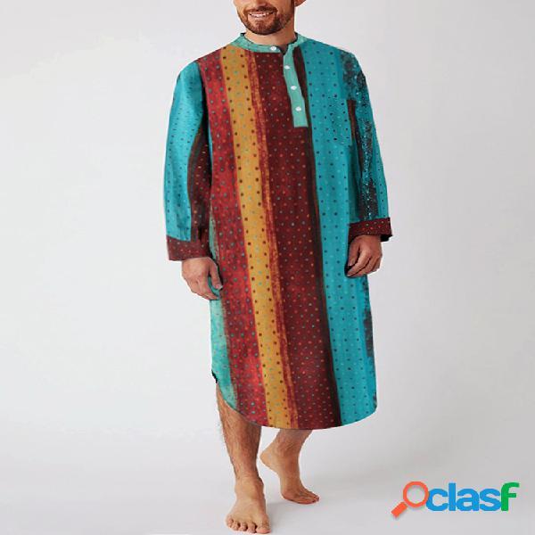 Robe loungewear de manga comprida respirável de algodão étnico multicolorido listrado com bolsos no peito