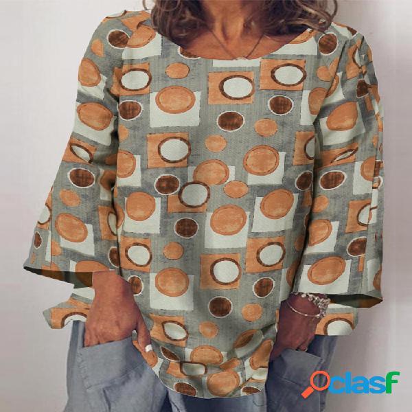 Blusa com estampa geométrica gola o manga comprida vintage plus tamanho