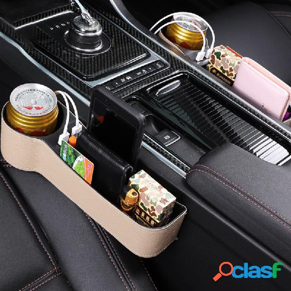 Armazenamento de espaço para assento de carro caixa armazenamento de carregamento usb caixa porta-copos multifuncional de couro para carro