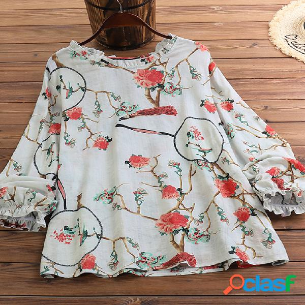 Blusa com estampa floral vintage babado manga longa plus tamanho