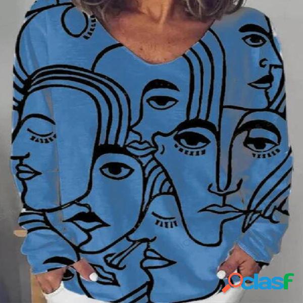 Figura estampa blusa com decote em v manga comprida tamanho plus tamanho
