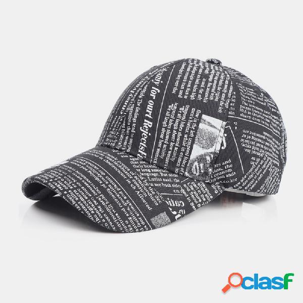 Jornal unissexo made-old padrão algodão protetor solar de aba larga visor moda casual beisebol chapéu