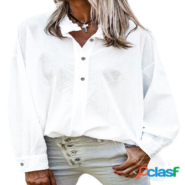 Blusa de mangas compridas de cor sólida com gola solta para mulheres