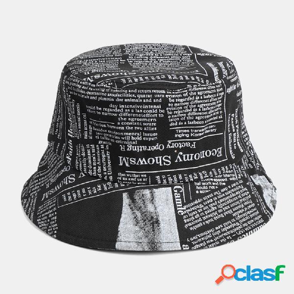 Jornal unissexo made-old padrão algodão de aba larga visor protetor solar moda balde casual chapéu