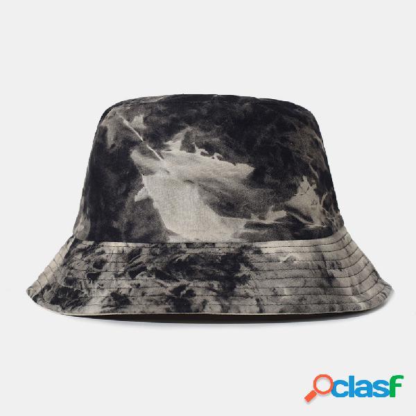 Protetor solar externo de algodão tie-dye dupla face masculino chapéu balde chapéu