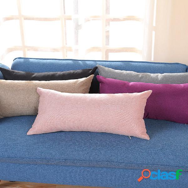 Fronha retangular algodão e linho travesseiro cor nap almofada plus sofá longo fronha de cintura para carro