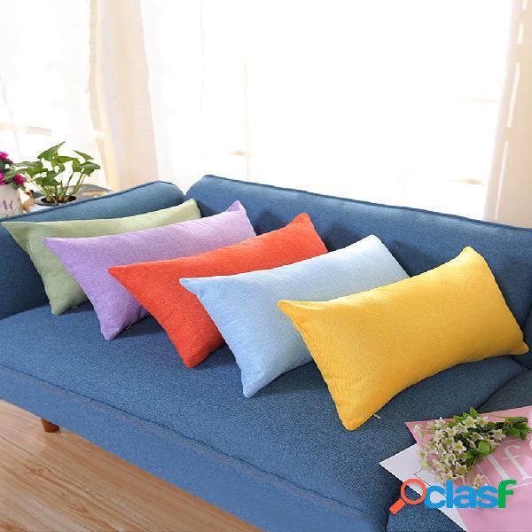 Fronha retangular algodão e linho travesseiro cor nap pillow plus sofá longo fronha de cintura para carro