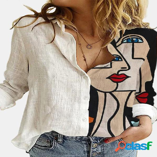 Blusa estampada vintage patchwork com gola manga comprida botão