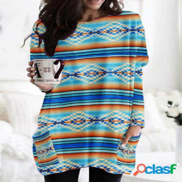 Blusa vintage para mulheres com estampa de listras étnicas compridas com decote em o