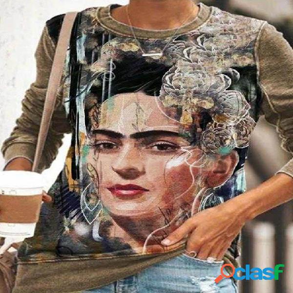 Camisola de manga comprida com estampa de patchwork cartoon