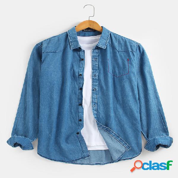 Gola de lapela masculina 100% algodão casual camisas jeans de manga comprida