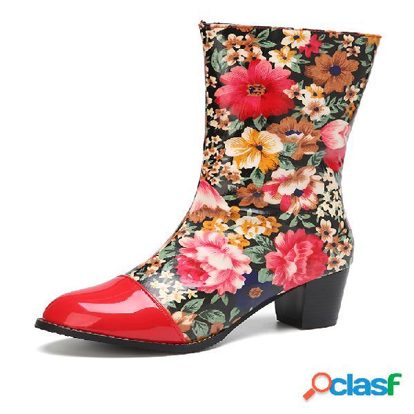Socofy botas de costura lateral com zíper redondo de flores de dedo do pé redondo e salto médio