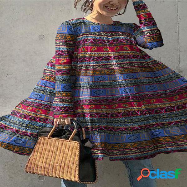 Blusa vintage para mulheres com estampa de listras étnicas com decote em o