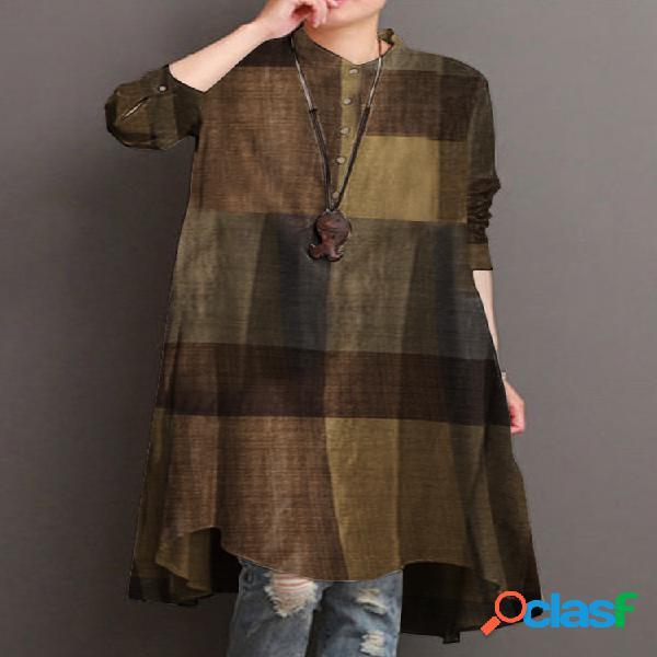 Colarinho de estampa xadrez manga longa casual camisa para mulheres