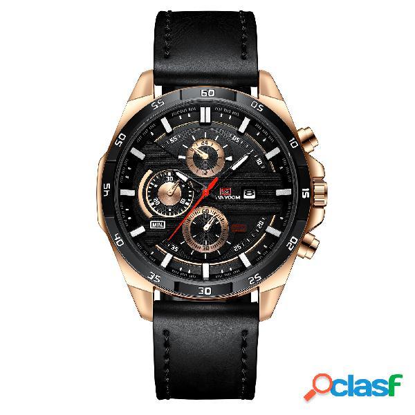 Relógio fashion masculino 3atm à prova d'água com exibição de data e pulseira de couro em quartzo