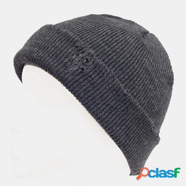 Homens estilo buraco quebrado outono inverno mantenha aquecido espesso cor sólida landlord caveira chapéu malha chapéu