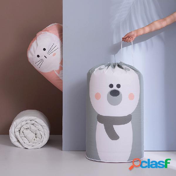 Desenho de colcha de roupas de armazenamento bolsa boca com cordão à prova de umidade e acabamento à prova d'água bolsa