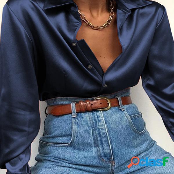 Elegante cor sólida manga longa cetim básico plus tamanho camisa para mulheres