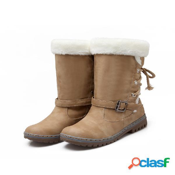 Botas de neve femininas com alça de fivela cor sólida redondo dedo do pé redondo forro de meia panturrilha