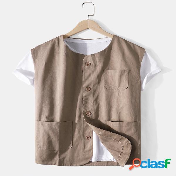 Colete casual masculino de algodão cor sólida com botões soltos e bolsos