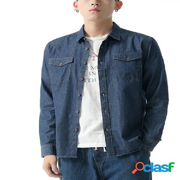 Gola de lapela masculina de algodão camisas jeans de manga comprida casual