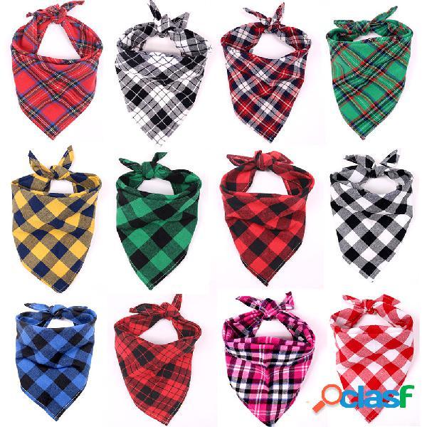 Lenço de pescoço triangular para animal de estimação de 1 peça tamanho grande cachorro saliva toalha classic lenço xadrez para animal de estimação joias