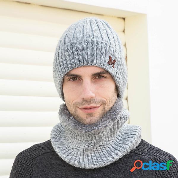 Masculino 2 pcs plus veludo espesso elástico à prova de vento manter proteção do pescoço protetor quente para cabeça e lenço gorro de lã
