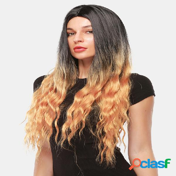 """30 """"black gradient gold long curly cabelo fofo sintético prom full head cover peruca"""