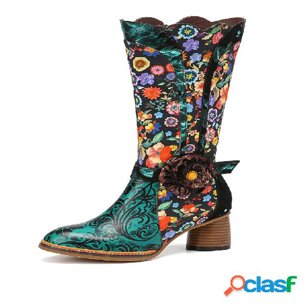 Socofy couro genuíno decoração floral estampada de flores comfy chunky heel comfy botas de cano médio