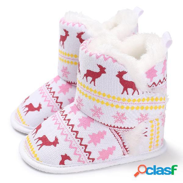 Botas de neve quentes para bebês meninas natal fawn padrão sapatos de criança confortáveis